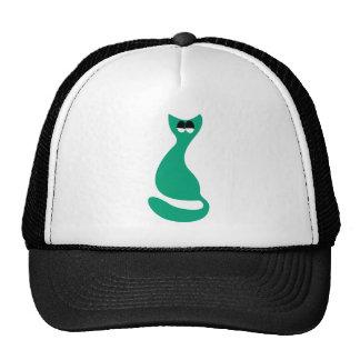 Cat Sitting Turnaround Green Satisfied Smug Eyes Cap