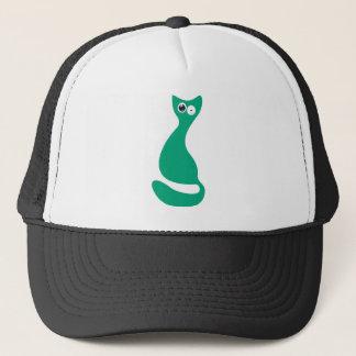 Cat Sitting Turnaround Green Stunned Eyes Trucker Hat