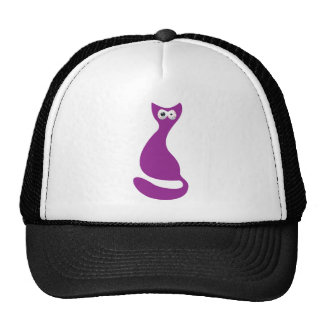 Cat Sitting Turnaround Purple Manic Bloodshot Eyes Trucker Hat