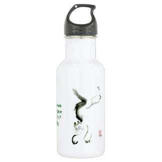Cat Skedaddle, Sumi-e cat 18oz Water Bottle