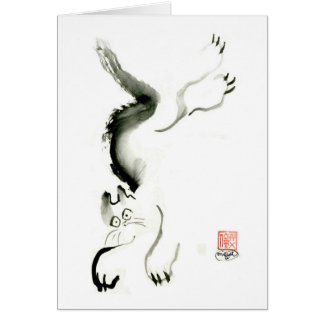 Cat Skedaddle, Sumi-e cat Greeting Card
