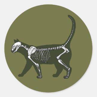 Cat Skeleton Classic Round Sticker