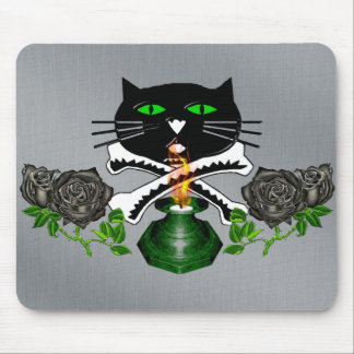 Cat Skull and Bones Mouse Pad
