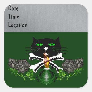 Cat Skull and Bones Stickers