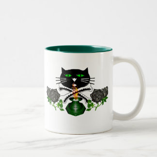 Cat Skull and Bones Two-Tone Coffee Mug
