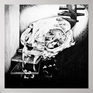 Cat Skull Descending Staircase Poster