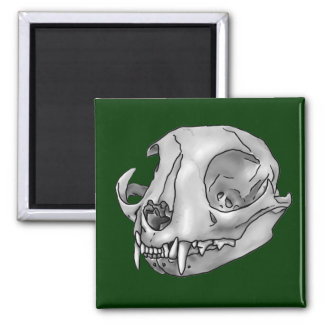 cat skull magnet