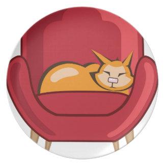 Cat sleeping in armchair melamine plate