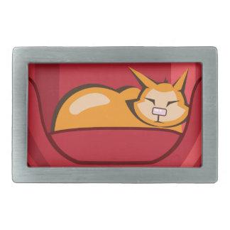Cat sleeping in armchair rectangular belt buckle