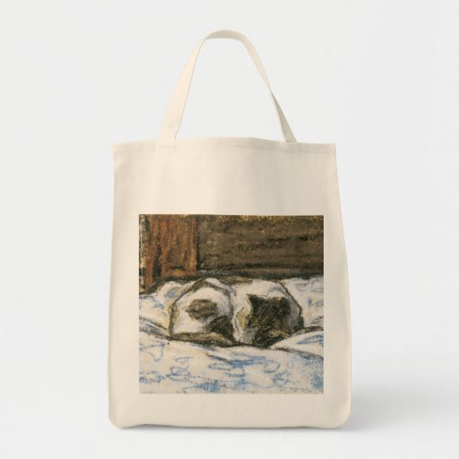 Cat Sleeping on a Bed by Claude Monet Bag
