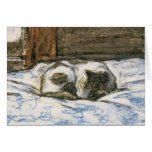 Cat Sleeping on a Bed by Claude Monet Greeting Card