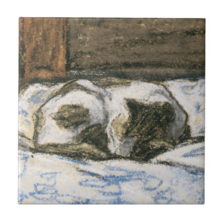 Cat Sleeping on a Bed by Claude Monet Ceramic Tile