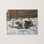 Cat Sleeping on a Bed by Claude Monet Jigsaw Puzzle
