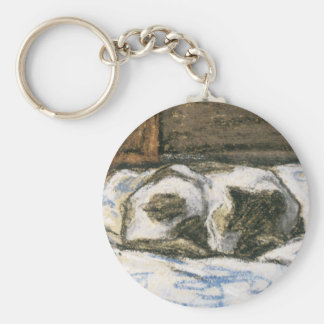 Cat Sleeping on a Bed by Claude Monet Keychain