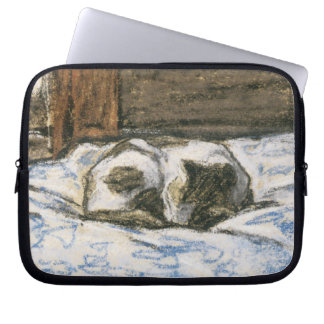 Cat Sleeping on a Bed by Claude Monet Laptop Sleeve