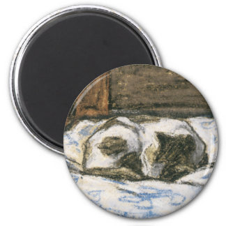Cat Sleeping on a Bed by Claude Monet Magnet