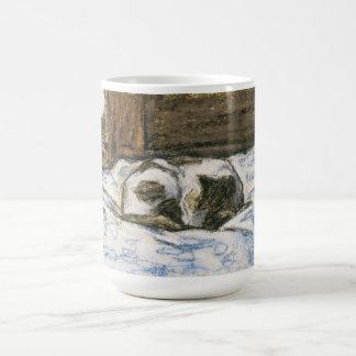 Cat Sleeping on a Bed by Claude Monet Coffee Mug