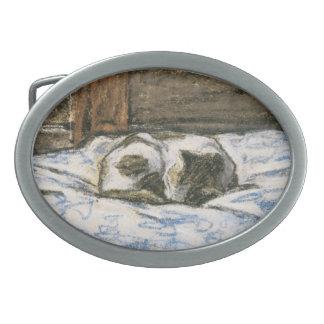 Cat Sleeping on a Bed by Claude Monet Oval Belt Buckle