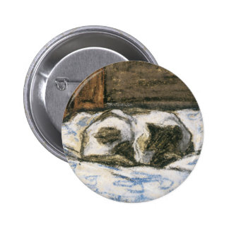 Cat Sleeping on a Bed by Claude Monet Pinback Button