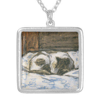 Cat Sleeping on a Bed by Claude Monet Silver Plated Necklace