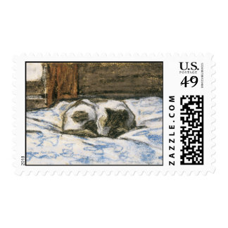 Cat Sleeping on a Bed by Claude Monet Stamp