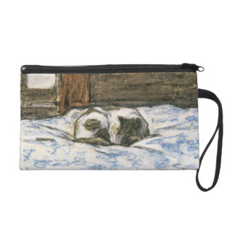 Cat Sleeping on a Bed by Claude Monet Wristlet Purse