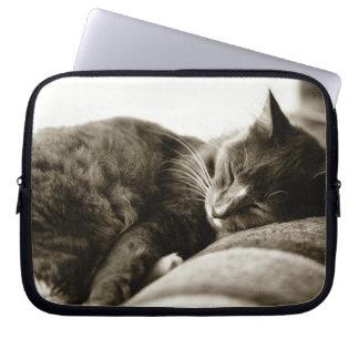 Cat sleeping on sofa (B&W sepia tone) Laptop Computer Sleeve