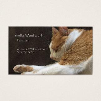 Cat sleeping on sofa business card