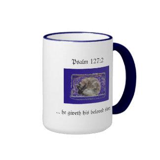Cat Sleeping Ps 127:2 Mug