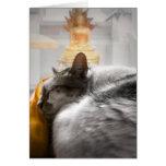 Cat Sleeping under Buddha's Watch Greeting Card