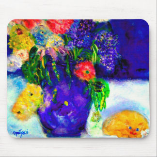 Cat Sleeping Under the Flowers Mouse Pad