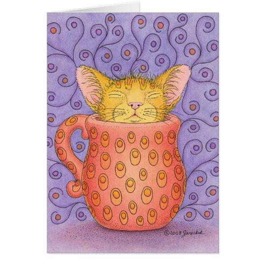 CAT sleeps in mug Card