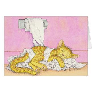 CAT sleeps in toilet paper Card