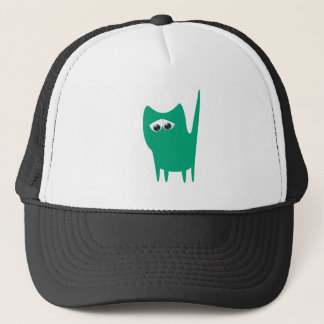 Cat Small Standing Green Sad Eyes Trucker Hat