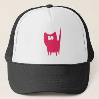 Cat Small Standing Pink Look Up There Eyes Trucker Hat