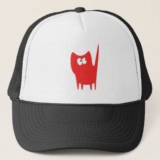 Cat Small Standing Red Look Up There Eyes Trucker Hat