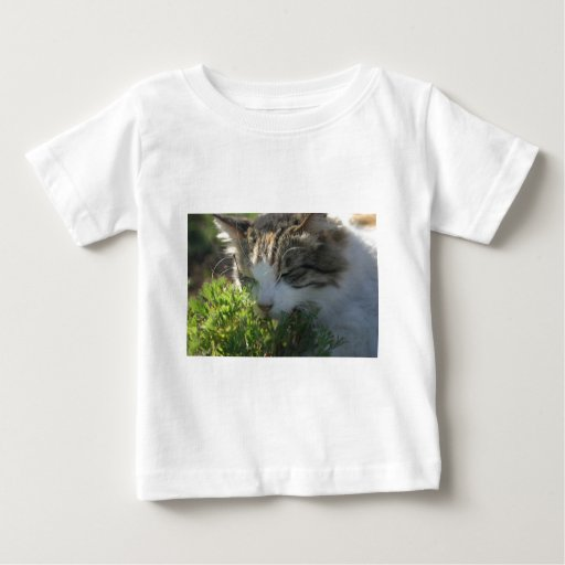 Cat Smelling a Plant Baby T-Shirt