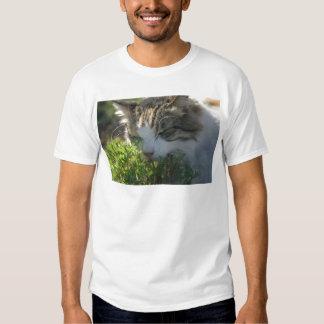Cat Smelling a Plant T-shirt