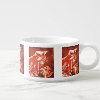 cat smelling flower chili bowl