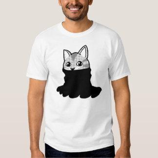 Cat Smiley Turtleneck Black T-shirt