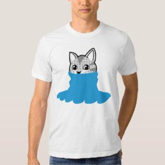Cat Smiley Turtleneck Blue Tee Shirt