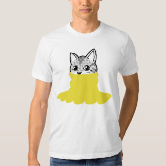 Cat Smiley Turtleneck Yellow T Shirt