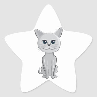 cat smiling star sticker