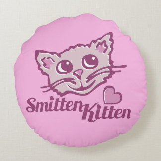 Cat smitten kitten face heart round pillow