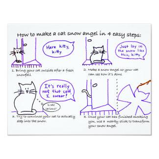"Cat Snow Angel Invitation 4.25"" X 5.5"" Invitation Card"