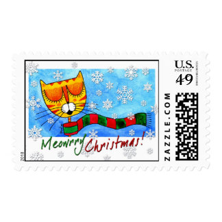 Cat & Snowflakes - Meowrry Christmas! Postage Stamp