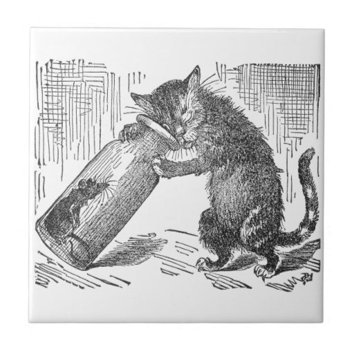 Cat Spies Mouse in Bottle Tiles