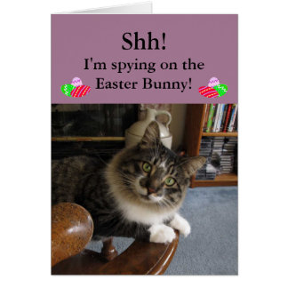 Cat Spying on Easter Bunny Easter Card
