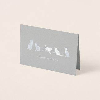 Cat Squad Personalized Silver Foil Stationery Card