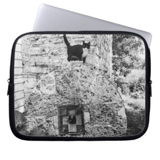 Cat standing on old stone wheel laptop sleeve
